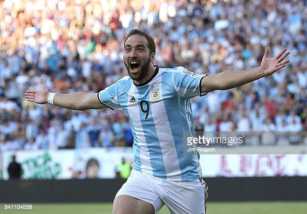 Gonzalo Higuain of Argentina celebrates his goal during the 2016 Copa America Centenario quarterfinal match against Venezuela at Gillette Stadium on...