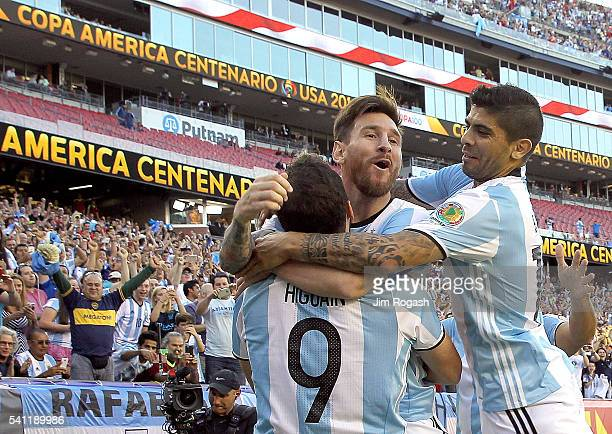 Gonzalo Higuain of Argentina celebrates his goal with Lionel Messi and Ever Banega in the first half during the 2016 Copa America Centenario...