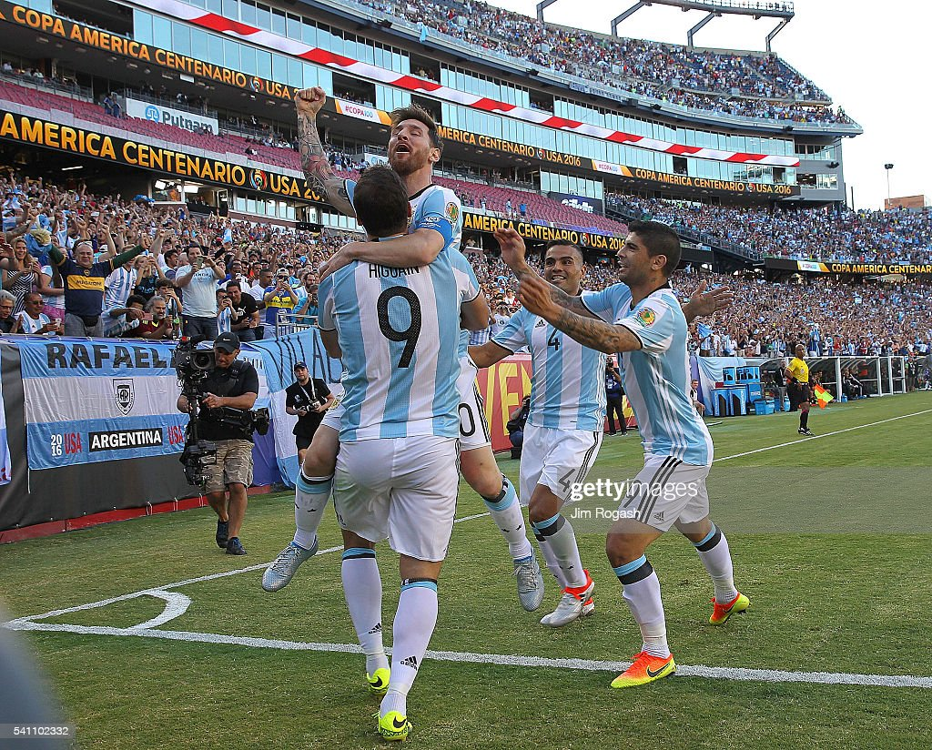 Gonzalo Higuain of Argentina celebrates his goal withLionel Messi of Argentina during the 2016 Copa America Centenario quarterfinal match against...