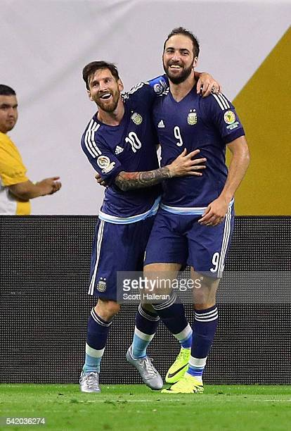 Gonzalo Higuain of Argentina celebrates with Lionel Messi after scoring a goal in the second half against the United States during a 2016 Copa...