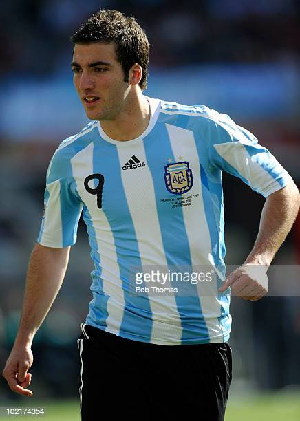 Gonzalo Higuain of Argentina during the 2010 FIFA World Cup South Africa Group B match between Argentina and South Korea at Soccer City Stadium on...