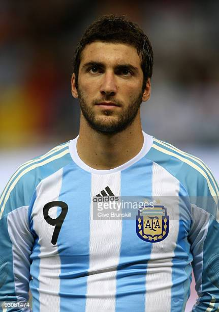 Gonzalo Higuain of Argentina during the friendly International football match Spain against Argentina at the Vicente Calderon stadium in Madrid on...