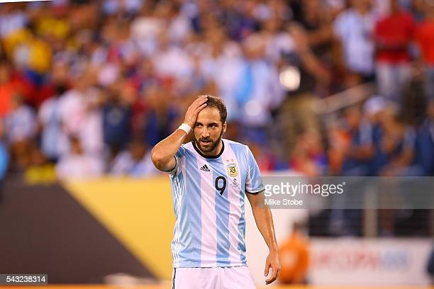 Gonzalo Higuain of Argentina reacts after missing a scoring chance against Chile during the Copa America Centenario Championship match at MetLife...