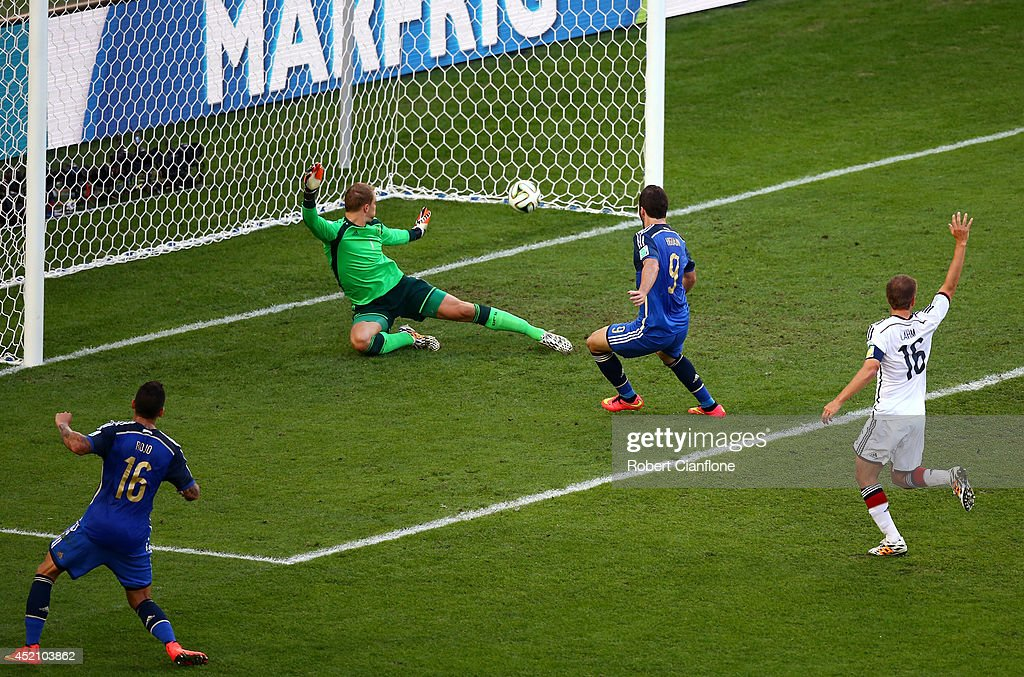 Gonzalo Higuain of Argentina scores a goal past Manuel Neuer of Germany but it is disallowed due to offsides being called during the 2014 FIFA World Cup Brazil Final match between Germany and Argentina at Maracana on July 13, 2014 in Rio de Janeiro, Brazil.