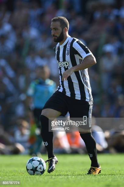 Gonzalo Higuain of Juventus A in action during the preseason friendly match between Juventus A and Juventus B on August 17 2017 in Villar Perosa Italy