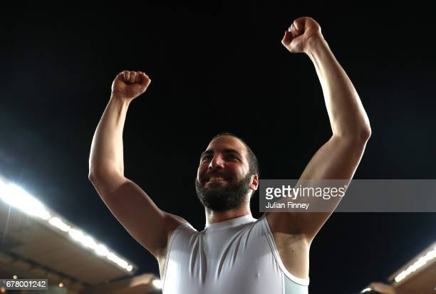 Gonzalo Higuain of Juventus celebrates after the full time whistle in the UEFA Champions League Semi Final first leg match between AS Monaco v...