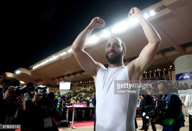 Gonzalo Higuain of Juventus celebrates after the full time whistle during the UEFA Champions League Semi Final first leg match between AS Monaco v...
