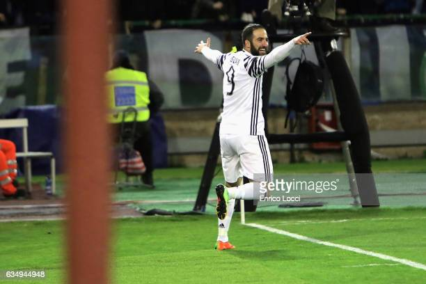 Gonzalo Higuain of Juventus celebrates his goal 02 during the Serie A match between Cagliari Calcio and Juventus FC at Stadio Sant'Elia on February...