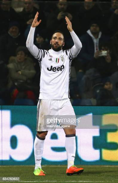 Gonzalo Higuain of Juventus celebrates his team's second goal during the Serie A match between FC Crotone and Juventus FC at Stadio Comunale Ezio...
