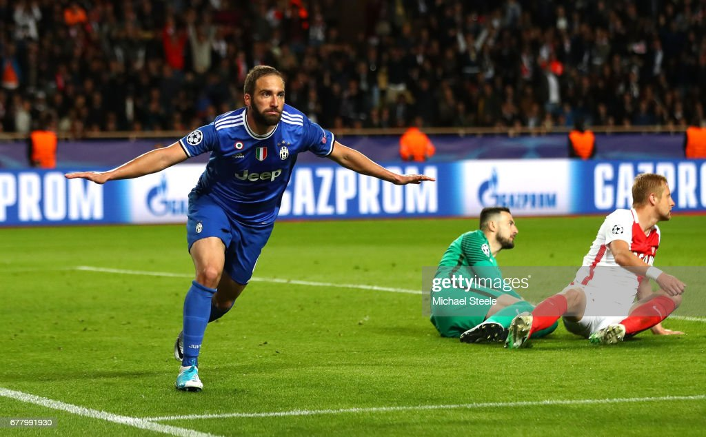 Gonzalo Higuain of Juventus celebrates scoring his sides second goal during the UEFA Champions League Semi Final first leg match between AS Monaco v Juventus at Stade Louis II on May 3, 2017 in Monaco, Monaco.