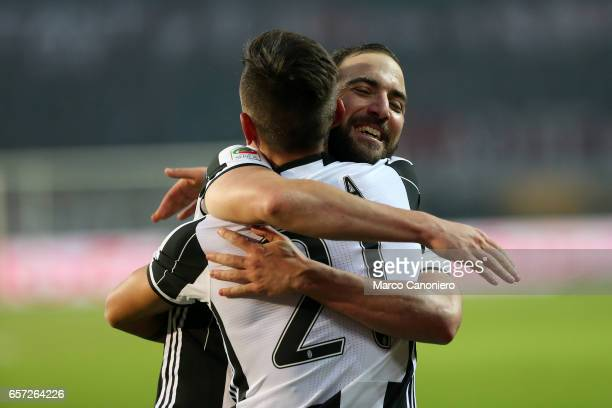 Gonzalo Higuain of Juventus Fc celebrate victory with teammate Paulo Dybala during the Serie A football match between Torino FC and Juventus FC...