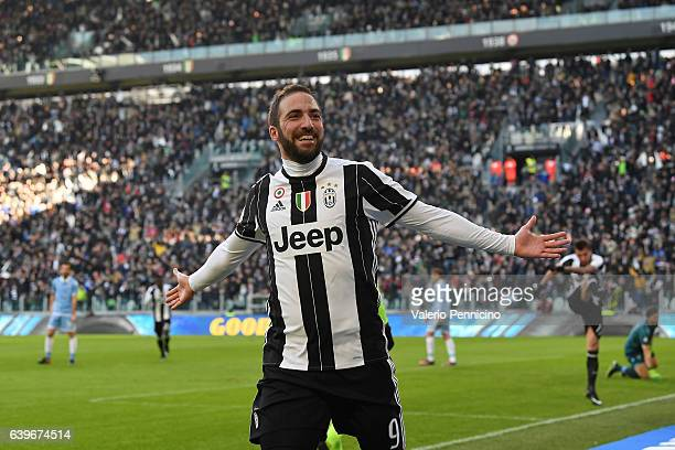 Gonzalo Higuain of Juventus FC celebrates a goal during the Serie A match between Juventus FC and SS Lazio at Juventus Stadium on January 22 2017 in...