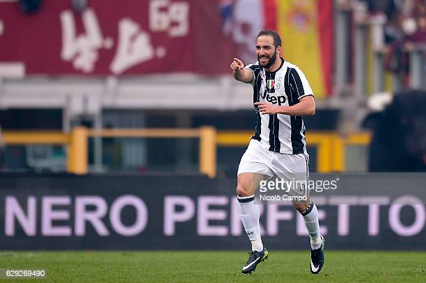 Gonzalo Higuain of Juventus FC celebrates after scoring during the Serie A football match between Torino FC and Juventus FC Juventus FC won 31 over...