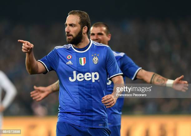 Gonzalo Higuain of Juventus FC celebrates after scoring goal 12 during the TIM Cup match between SSC Napoli and Juventus FC at Stadio San Paolo on...