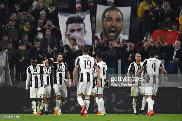 Gonzalo Higuain of Juventus FC celebrates his goal with team mate Paulo Dybala during the Serie A match between Juventus FC and US Citta di Palermo...