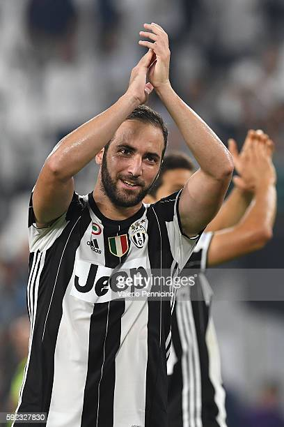 Gonzalo Higuain of Juventus FC celebrates victory at the end of the Serie A match between Juventus FC and ACF Fiorentina at Juventus Arena on August...