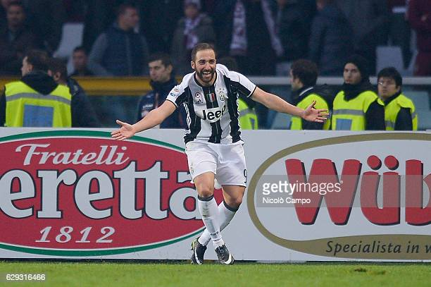 Gonzalo Higuain of Juventus FC celebrats after scoring his second goal during the Serie A football match between Torino FC and Juventus FC Juventus...