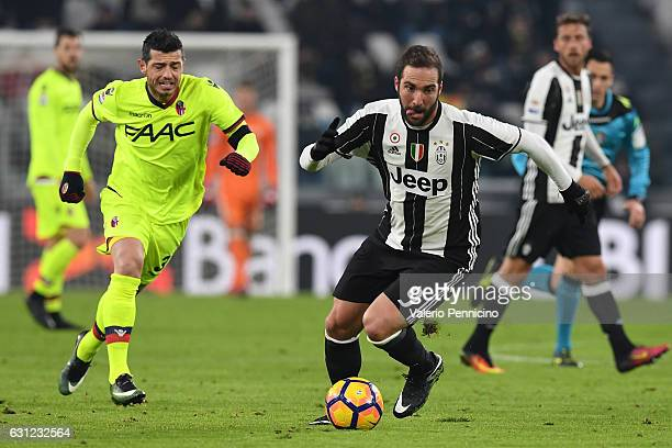 Gonzalo Higuain of Juventus FC in action during the Serie A match between Juventus FC and Bologna FC at Juventus Stadium on January 8 2017 in Turin...