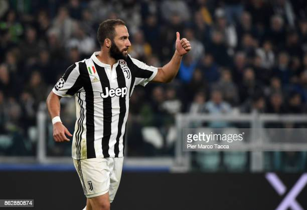 Gonzalo Higuain of Juventus gestures during the UEFA Champions League group D match between Juventus and Sporting CP at Juventus Stadium on October...