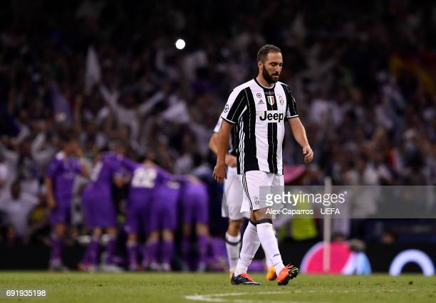 Gonzalo Higuain of Juventus looks dejected during the UEFA Champions League Final between Juventus and Real Madrid at National Stadium of Wales on...