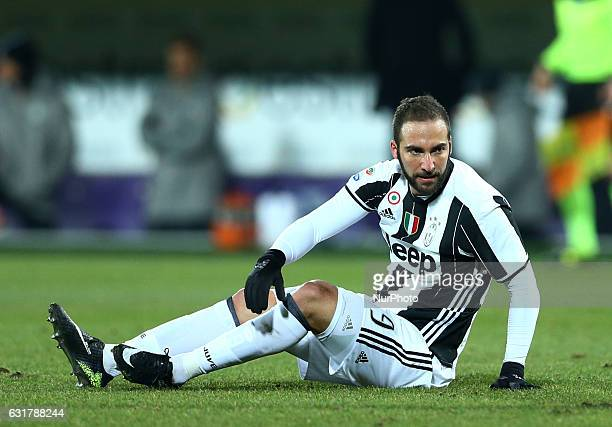 Gonzalo Higuain of Juventus reacts during the Serie A match between ACF Fiorentina and Juventus FC at Stadio Artemio Franchi on January 15 2017 in...