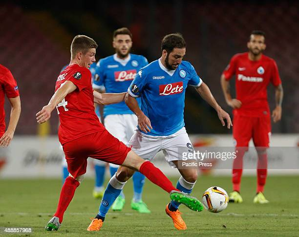 Gonzalo Higuain of Naples team during the Europa League group D match against Brugge at the San Paolo stadium in Naples