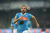 Gonzalo Higuain of Napoli celebrates after scoring goal 10 during the Serie A match between SSC Napoli and FC Internazionale Milano at Stadio San...