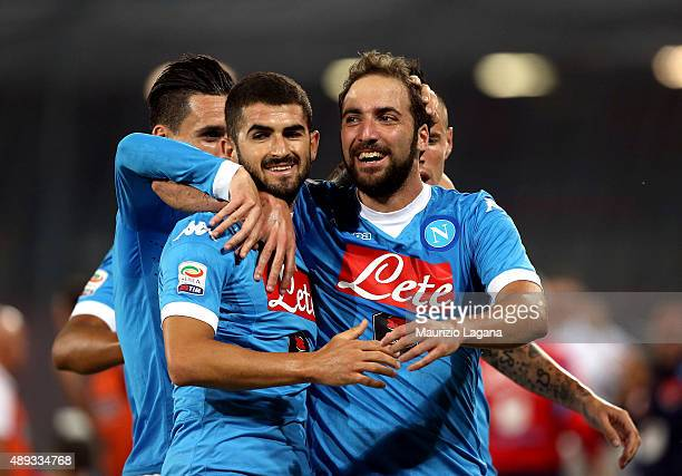 Gonzalo Higuain of Napoli celebrates after scoring his team's opening goal during the Serie A match between SSC Napoli and SS Lazio at Stadio San...