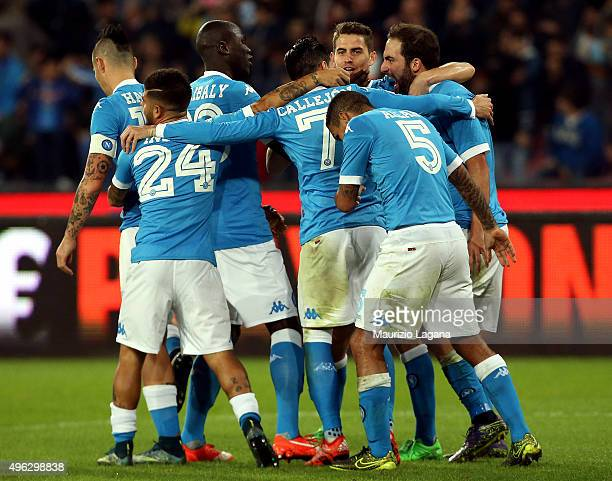 Gonzalo Higuain of Napoli celebrates after scoring his team's opening goal during the Serie A match between SSC Napoli and Udinese Calcio at Stadio...