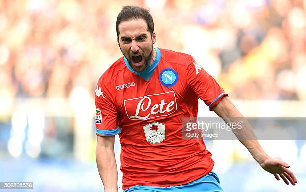 Gonzalo Higuain of Napoli celebrates after scoring his team's opening goal during the Serie A match between UC Sampdoria and SSC Napoli at Stadio...