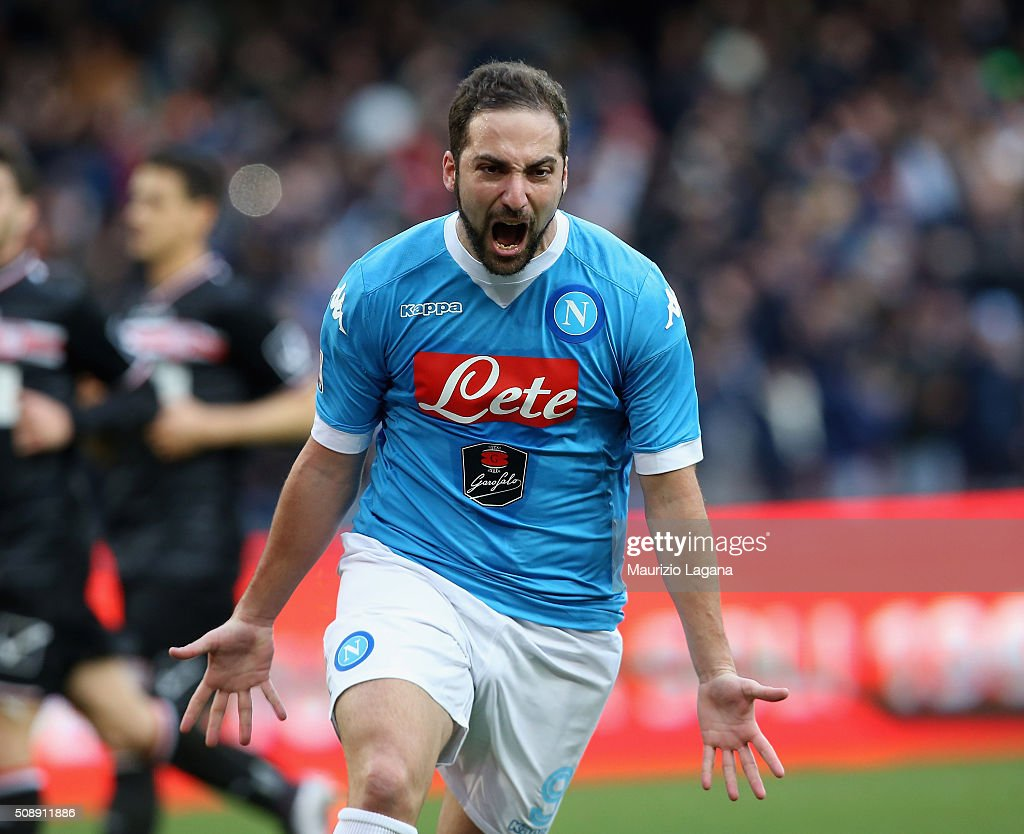<a gi-track='captionPersonalityLinkClicked' href=/galleries/search?phrase=Gonzalo+Higuain&family=editorial&specificpeople=651523 ng-click='$event.stopPropagation()'>Gonzalo Higuain</a> of Napoli celebrates after scoring his team's opening goal during the Serie A match between SSC Napoli and Carpi FC at Stadio San Paolo on February 7, 2016 in Naples, Italy.