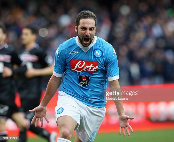 Gonzalo Higuain of Napoli celebrates after scoring his team's opening goal during the Serie A match between SSC Napoli and Carpi FC at Stadio San...