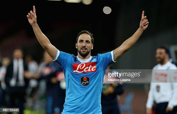 Gonzalo Higuain of Napoli celebrates after scoring his team's second goal during the Serie A match between SSC Napoli and Juventus FC at Stadio San...