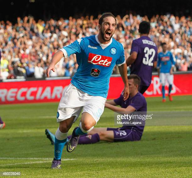 Gonzalo Higuain of Napoli celebrates after scoring his team's second goal during the Serie A match between SSC Napoli and ACF Fiorentina at Stadio...