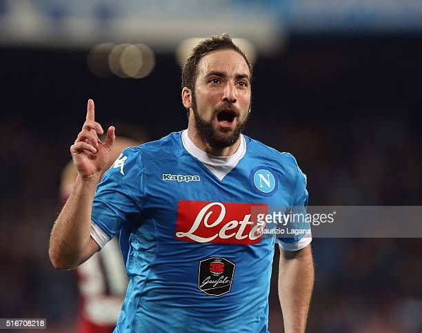 Gonzalo Higuain of Napoli celebrates after scoring his team's second goal during the Serie A match between SSC Napoli and Genoa CFC at Stadio San...
