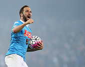 Gonzalo Higuain of Napoli celebrates after scoring his team's third goal during the Serie A match between SSC Napoli and Frosinone Calcio at Stadio...