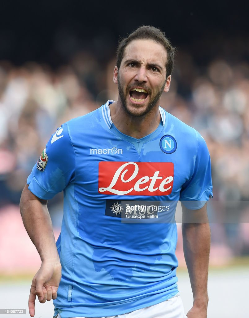 <a gi-track='captionPersonalityLinkClicked' href=/galleries/search?phrase=Gonzalo+Higuain&family=editorial&specificpeople=651523 ng-click='$event.stopPropagation()'>Gonzalo Higuain</a> of Napoli celebrates after scoring the goal 4-2 during the Serie A match between SSC Napoli and SS Lazio at Stadio San Paolo on April 13, 2014 in Naples, Italy.