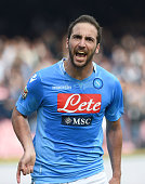 Gonzalo Higuain of Napoli celebrates after scoring the goal 42 during the Serie A match between SSC Napoli and SS Lazio at Stadio San Paolo on April...