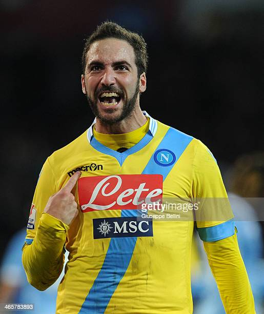 Gonzalo Higuain of Napoli celebrates after scoring the opening goal during the TIM Cup match between SSC Napoli and SS Lazio at Stadio San Paolo on...