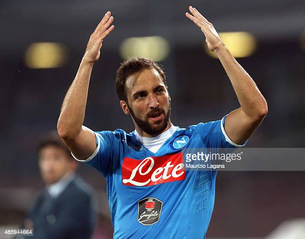 Gonzalo Higuain of Napoli celebrates after scoring the opening goal during the Serie A match between SSC Napoli and UC Sampdoria at Stadio San Paolo...