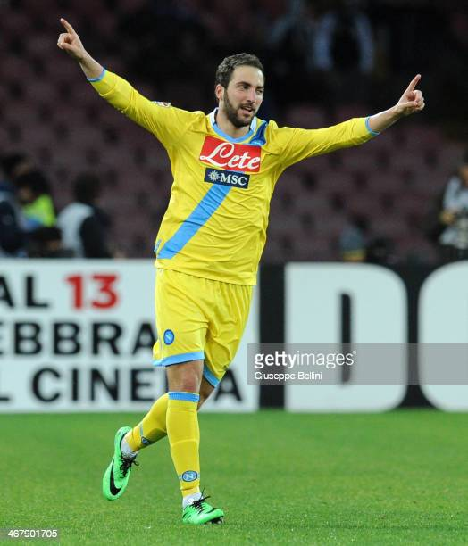 Gonzalo Higuain of Napoli celebrates after scoring their second goal during the Serie A match between SSC Napoli and AC Milan at Stadio San Paolo on...
