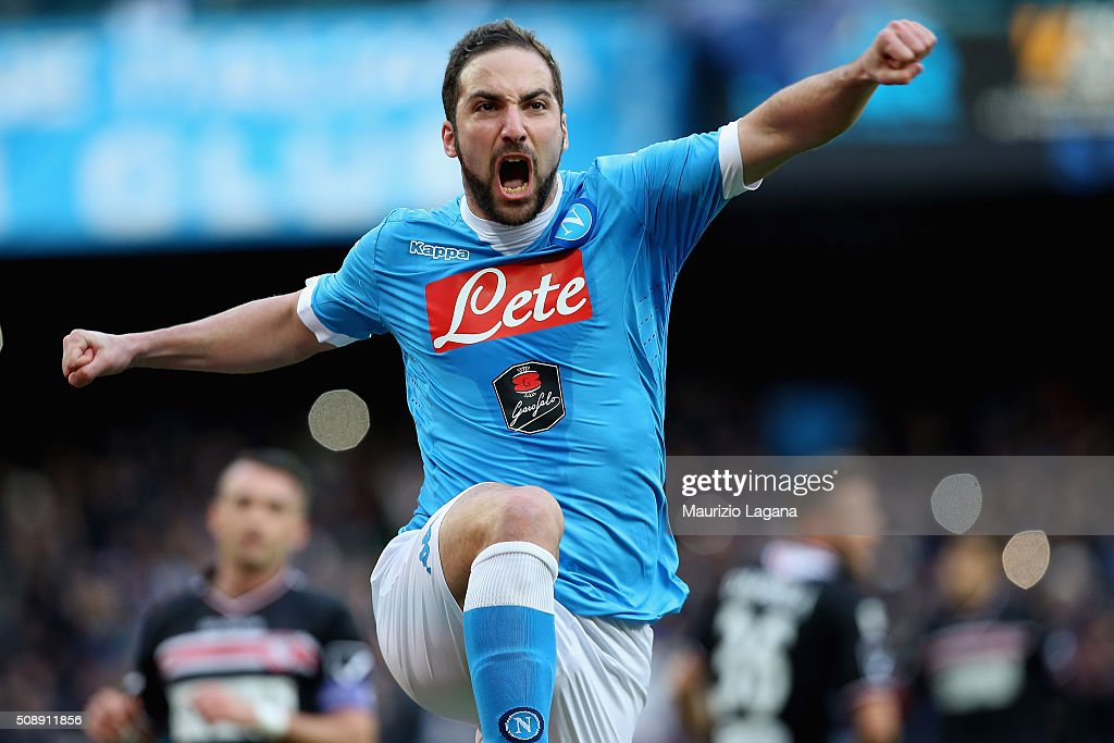 <a gi-track='captionPersonalityLinkClicked' href=/galleries/search?phrase=Gonzalo+Higuain&family=editorial&specificpeople=651523 ng-click='$event.stopPropagation()'>Gonzalo Higuain</a> of Napoli celebrates the opening goal during the Serie A match between SSC Napoli and Carpi FC at Stadio San Paolo on February 7, 2016 in Naples, Italy.