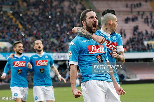 Gonzalo Higuain of Napoli celebrates the opening goal during the Serie A match between SSC Napoli and Carpi FC at Stadio San Paolo on February 7 2016...
