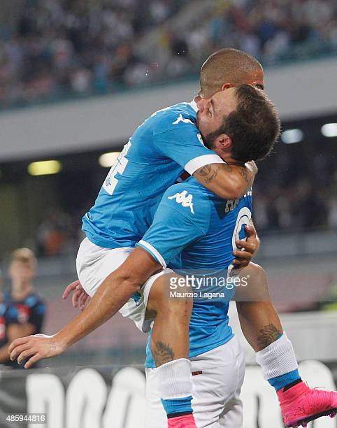 Gonzalo Higuain of Napoli celebrates the opening goal with his teammate Lorenzo Insigne during the Serie A match between SSC Napoli and UC Sampdoria...