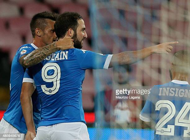 Gonzalo Higuain of Napoli celebrates the second goal during the Serie A match between SSC Napoli and UC Sampdoria at Stadio San Paolo on August 30...