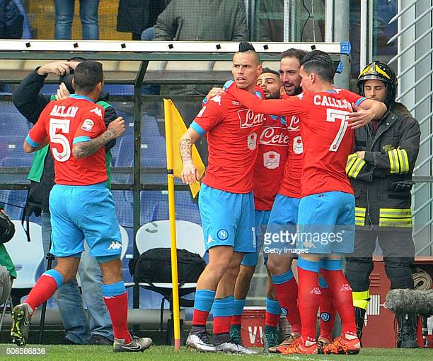 Gonzalo Higuain of Napoli celebrates with team mates after scoring his team's opening goal during the Serie A match between UC Sampdoria and SSC...