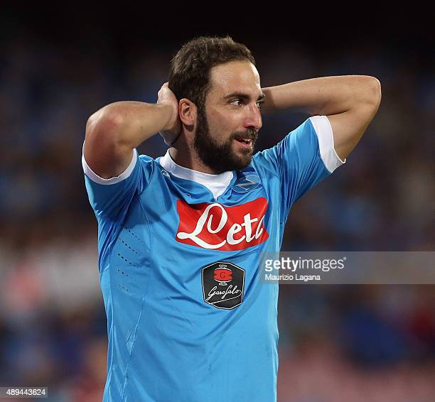 Gonzalo Higuain of Napoli during the Serie A match between SSC Napoli and SS Lazio at Stadio San Paolo on September 20 2015 in Naples Italy