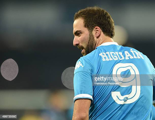 Gonzalo Higuain of Napoli in action during the Serie A match between SSC Napoli and FC Internazionale Milano at Stadio San Paolo on November 30 2015...