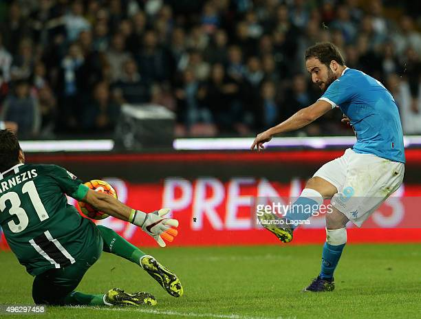 Gonzalo Higuain of Napoli misses a goal during the Serie A match between SSC Napoli and Udinese Calcio at Stadio San Paolo on November 8 2015 in...