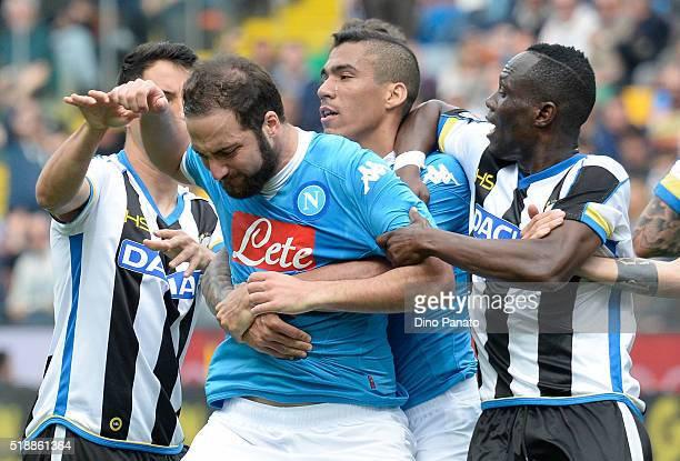 Gonzalo Higuain of Napoli reacts after receives a red card during the Serie A match between Udinese Calcio and SSC Napoli at Stadio San Paolo on...